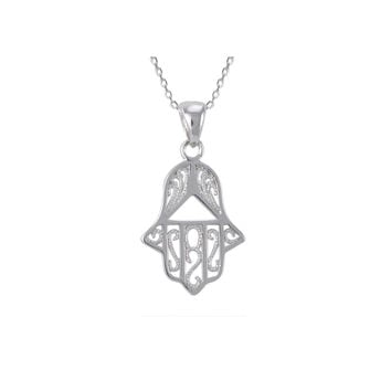 925 Sterling Silver Hamsa Symbol Pendant Necklace on 18 Inch Chain