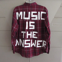 "Size Large Unisex Hand Painted ""Music Is The Answer""  On Vintage Red Flannel"