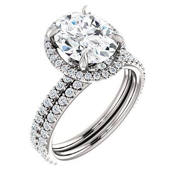 Oval Moissanite Diamond Accent Ice Halo Collar Ring
