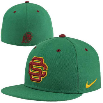 Nike USC Trojans True Authentic Fitted Baseball Hat - Green