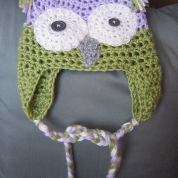 Baby Owl Earflap Beanie with Braids- Lavender Purple, Green, White, and Grey