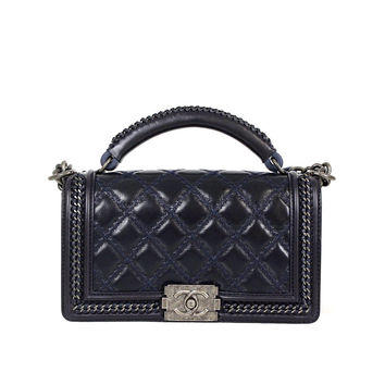 Chanel Navy Quilted Leather Aged Silver HDW 2015 Boy Flap Shoulder Bag