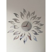 Sun Shape Clock Mirror Wall Sticker 23pcs