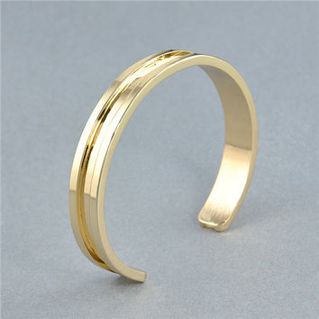 Hot High Quality Cuff Bangle Simple Metal Hair Tie Bracelet Opening Charm Bracelet For Women Jewelry Gift