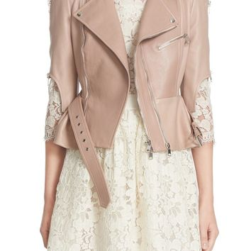 Alexander McQueen Crop Lambskin Leather Jacket | Nordstrom
