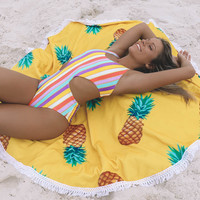 Pineapple Round Terry Cloth Beach Blanket
