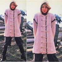 Knitting CARDIGAN Pattern Vintage 70s Crochet SWEATER PATTERN Crochet Jacket Pattern Crochet Coat Pattern Knitting Pattern