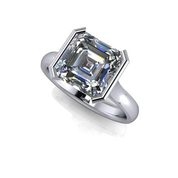 Ready to Ship Asscher Cut Half Bezel Engagement Ring - Forever One Certified Moissanite