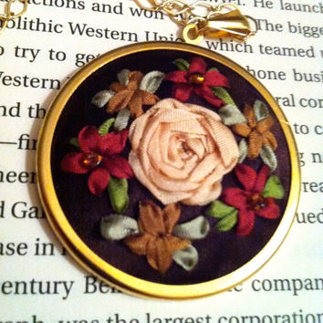 Copper Burgundy and Cream Rose Pendant- Silk Ribbon Embroidery by BeanTown Embroidery