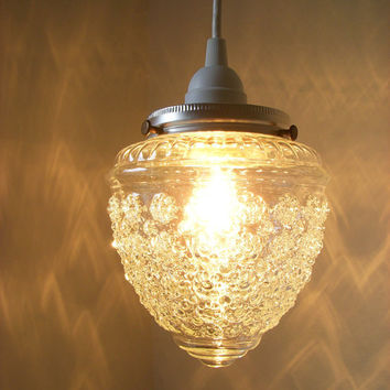 Crystal Clear Dazzling Diamonds Pressed Glass Raspberry Shaped Textured Hanging Pendant Lighting Fixture BootsNGus Lamp Design