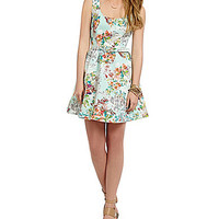 Teeze Me Floral Print Belted Dress - Mint Multi