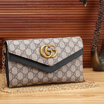 Gucci Stylish Women Letter Print Metal Chain Leather Satchel Shoulder Crossbody Bag I