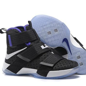 qiyif Nike Men's Lebron Soldier 10 Basketball Shoes Black Purple 40-46