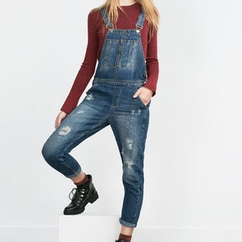 Denim Ripped And Frayed Straps Pocket Jumpsuit
