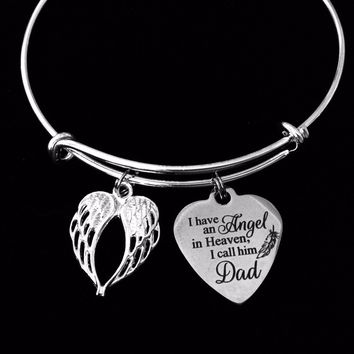 I Have An Angel In Heaven I Call Him Dad Expandable Charm Bracelet Father Dad Memorial Jewelry Silver Adjustable Bangle One Size Fits All Gift Bereavement