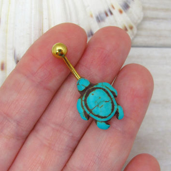 Turquoise turtle belly button ring, turtle belly button jewelry, turtle navel jewelry, belly button ring jewelry,unique gift