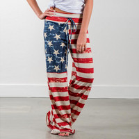 Independence Day USA Flag Loose Casual Pants Trousers for Women