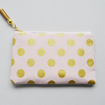 Gold polkadot clutch, golden metallic zipper pouch, pink and gold dots, gold leather bag, blush makeup bag, coin purse, bridesmaid gifts
