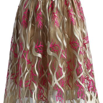 Ocean Illusion Embroidered Mesh Skirt in Brown