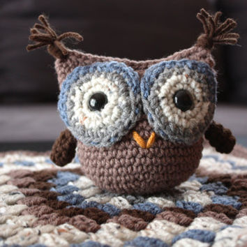 Crochet Baby Boy Owl and Blanket Set - Brown, Blue, Oatmeal, Grey (Ready to Ship)