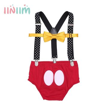 Infantil Baby Boys Clothes Adjustable Y Back Cute Elastic Strong Clip Suspenders with Bloomers Bowtie Outfit Costume Clothing