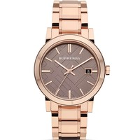 Burberry Rosegold Check Bracelet Watch, 38mm