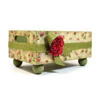 Decoupaged vintage red berries design trinket tray for home decor 390