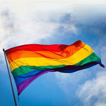 1pc LGBT Rainbow Flags 3x5FT 90x150cm Lesbian Gay Parade Banners LGBT Pride Flag Polyester Colorful Rainbow Flag for Decoration
