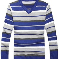 Men Fashion Simple Stripe All Matching Long Sleeve V-Neck Blue Knitting Sweater One Size@WH0110bl $20.99 only in eFexcity.com.