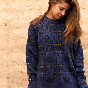 southwest 90s IKAT vintage ABSTRACT long slouchy Fair ISLE sweater
