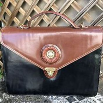 Leather Bag Laptop Case Black Chestnut Brown Sasha Via Moda Rome Italy
