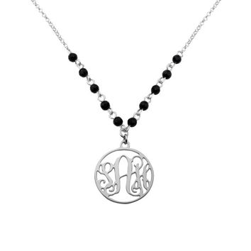 1 inch Sterling Silver Round Monogram and Black Onyx Beads Necklace