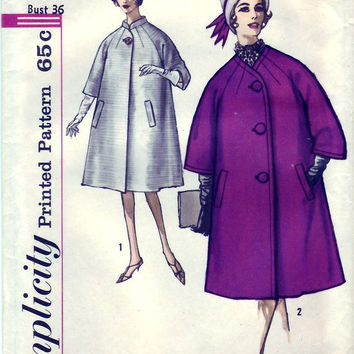 Simplicity 60s Sewing Pattern Swing Coat Duster Raglan Sleeves Standing Collar Flared Dress Coat