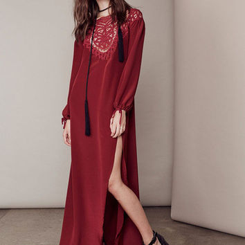Cut Out Backless Long Sleeve High Slit Cotton Blend Maxi Dress
