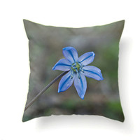 Blue Flower Pillow Cover Shabby Chic Decor Placid Blue Decorative Throw Pillows Living Room Decor Interior Design Cushions 30 x 30 Pillow