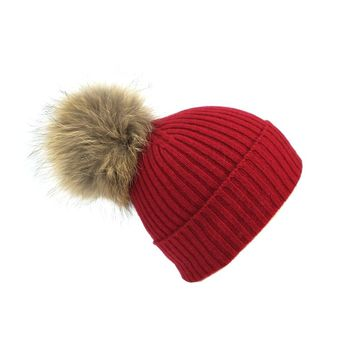 Dilly Fashion Women Winter Warm 100% Cashmere Rib Knitted Pom Beanie Hat - RCH01