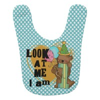 Dotted Teddy Bear I'm One 1st Birthday Bib