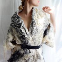 White and grey felt coat fur free kimono by vilte OOAK
