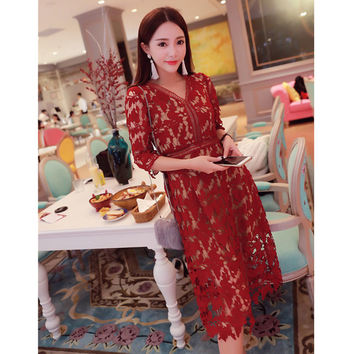 self portrait dress new 2016 ladies summer dress white/red/wine/violet lace crochet dress hollow out v-neck elegant dress SALE