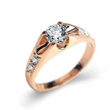 Immaculate CZ Diamond Rings For Women Rose Gold/Silver Color