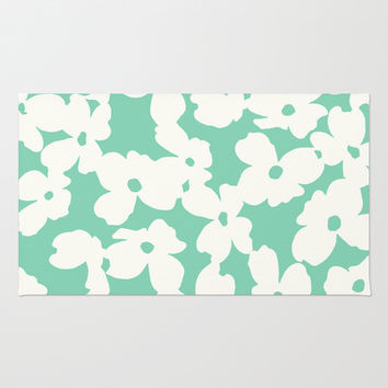 Dogwood: Mint Green Area & Throw Rug by Eileen Paulino