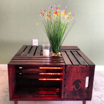 Wood Crate Coffee Table - accented w/ rope light, river rock, wild flowers, glass vase & candle