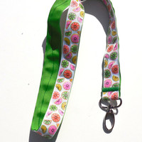 Ribbon Lanyard ID Holder, Summer Citrus Fruits,Apple Green, Key Holder