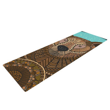 "Art Love Passion ""Bear in Grass"" Brown Blue Yoga Mat"