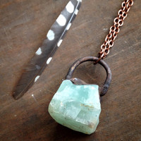 Raw Green Calcite Crystal from Mexico - Electroformed Crystal Necklace - Green Crystal Necklace - Copper Chain - Boho - Hippie Necklace