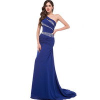 Royal Blue Yellow Purple One Shoulder Evening Dresses Long Mermaid Chiffon Luxury Crystal Evening Dress Prom Dresses