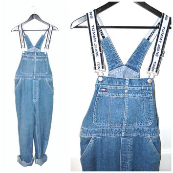 Tommy Hilfiger overalls / vintage early 90s GRUNGE designer CLUB kid denim DUNGAREES open size