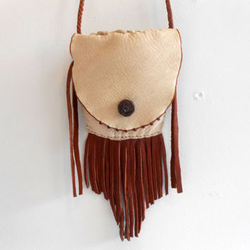 Leather Crossbody Bag, Small Fringe Purse, Handmade, Hand Sewn, Beaded Bag, Hippie, Gift for Her, Boho
