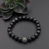 Handmade Bracelet with Black Marble  with  Rose Charm