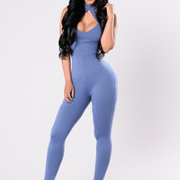 Act Like You Know Jumpsuit - Denim Blue